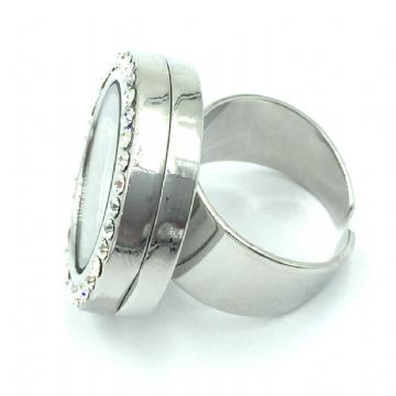 24mm living memory floating  locket ring - rhodium plated
